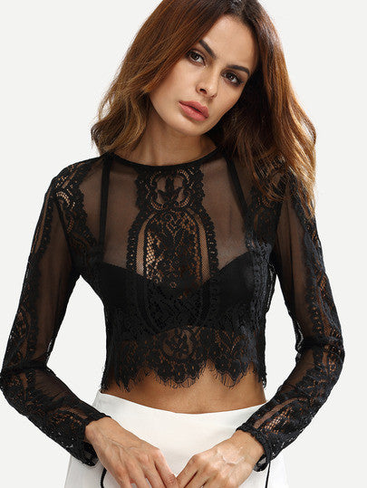 Black Lace See-through Crop Blouse - The Style Syndrome  - 1