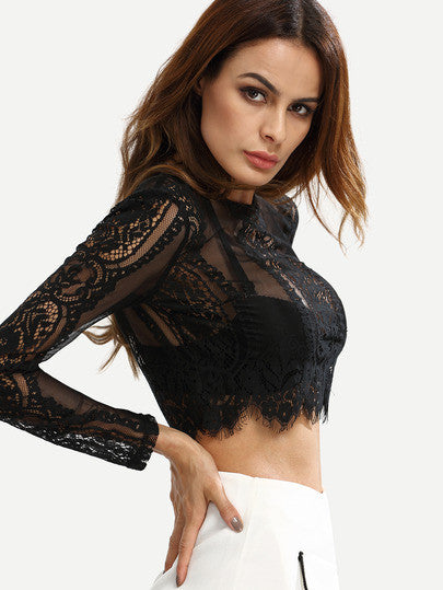 Black Lace See-through Crop Blouse - The Style Syndrome  - 4