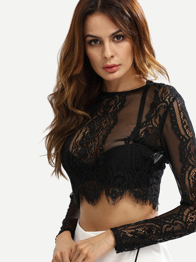 Black Lace See-through Crop Blouse - The Style Syndrome  - 3