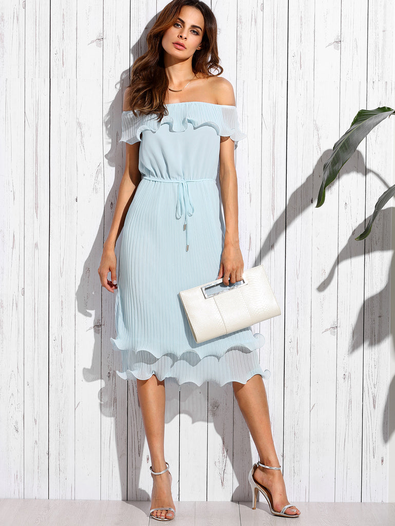 Blue Off The Shoulder Ruffle Tie Waist Dress - The Style Syndrome  - 1