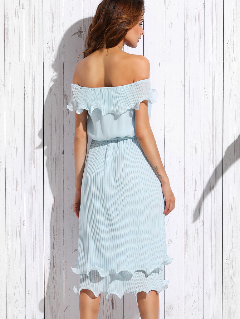 Blue Off The Shoulder Ruffle Tie Waist Dress - The Style Syndrome  - 2