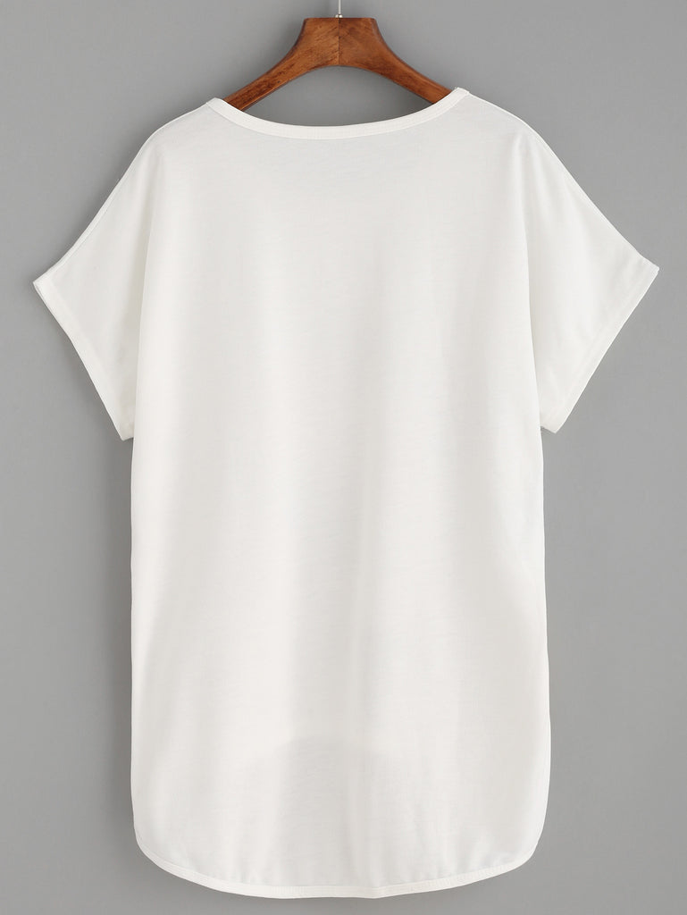 White Cat Print High Low T-shirt - The Style Syndrome  - 3