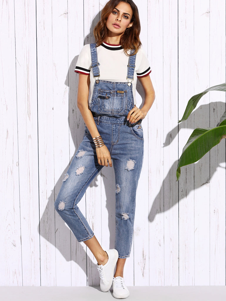 Blue Ripped Bleach Wash Overall Jeans - The Style Syndrome  - 1