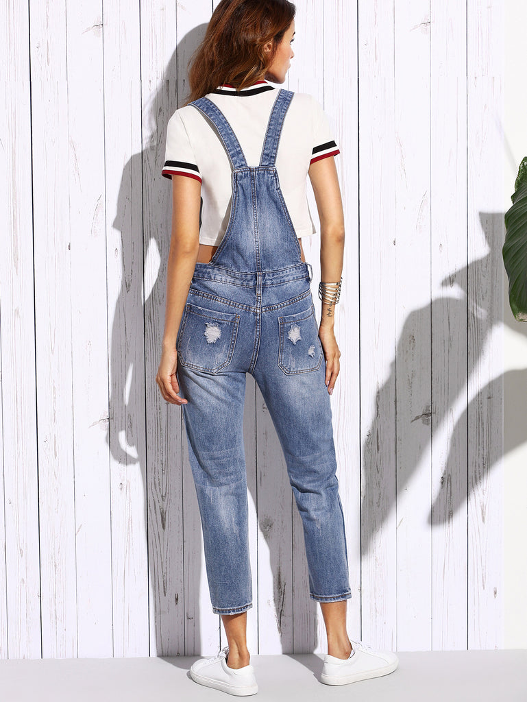 Blue Ripped Bleach Wash Overall Jeans - The Style Syndrome  - 4