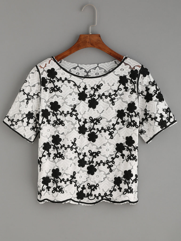 RZX White Flower Applique Embroidered Mesh Top - The Style Syndrome  - 1