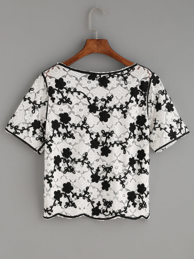 RZX White Flower Applique Embroidered Mesh Top - The Style Syndrome  - 2
