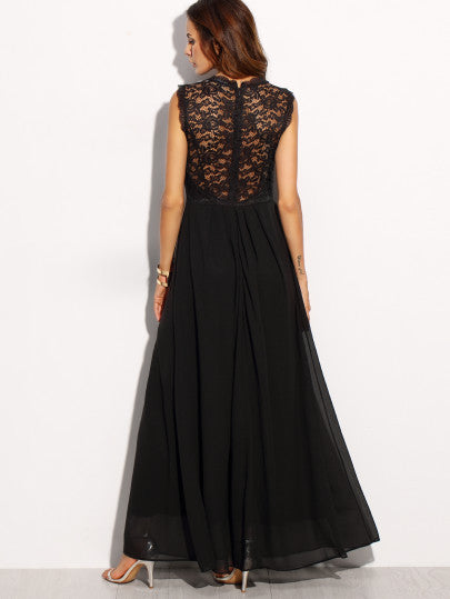 Black Lace Overlay Maxi Dress - The Style Syndrome  - 1
