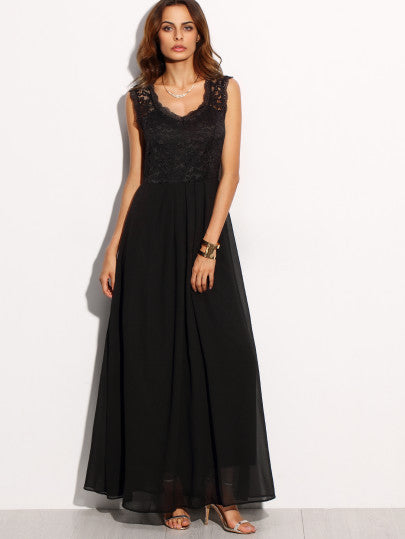 Black Lace Overlay Maxi Dress - The Style Syndrome  - 2
