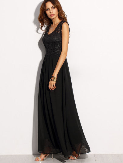 Black Lace Overlay Maxi Dress - The Style Syndrome  - 3