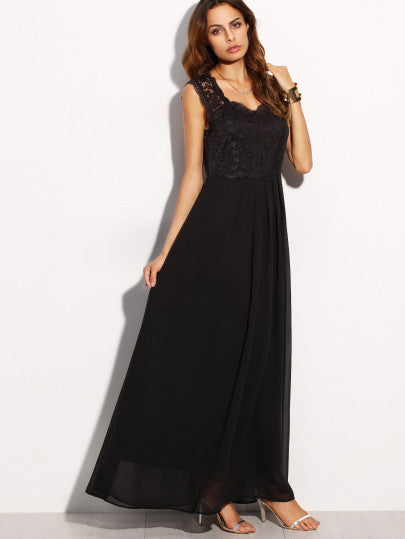 Black Lace Overlay Maxi Dress - The Style Syndrome  - 4