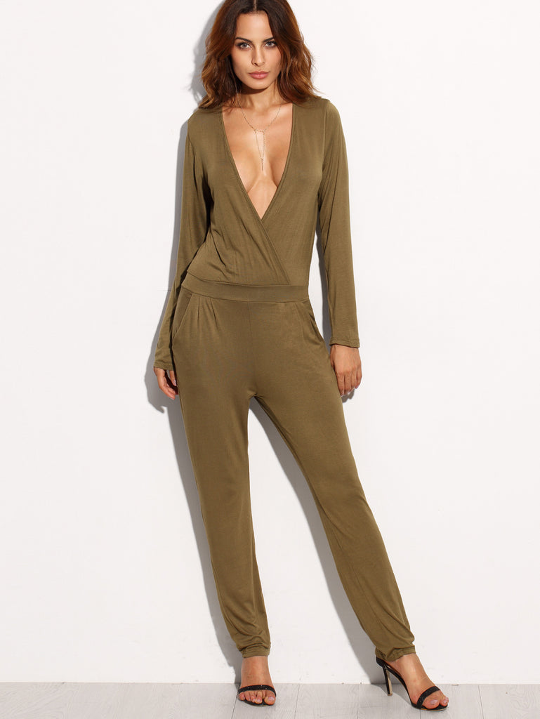 Army Green Deep V Neck Cutout Back Long Sleeve Jumpsuit RZX - The Style Syndrome