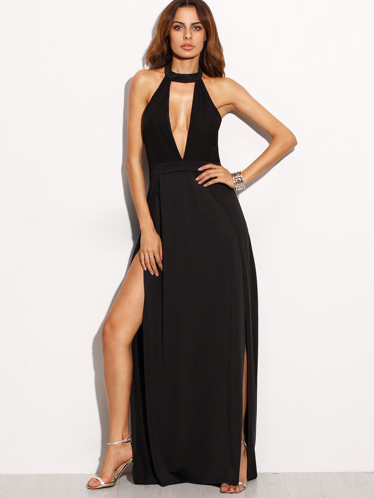 Black Halter Backless Cut Out Slit Dress - The Style Syndrome  - 1