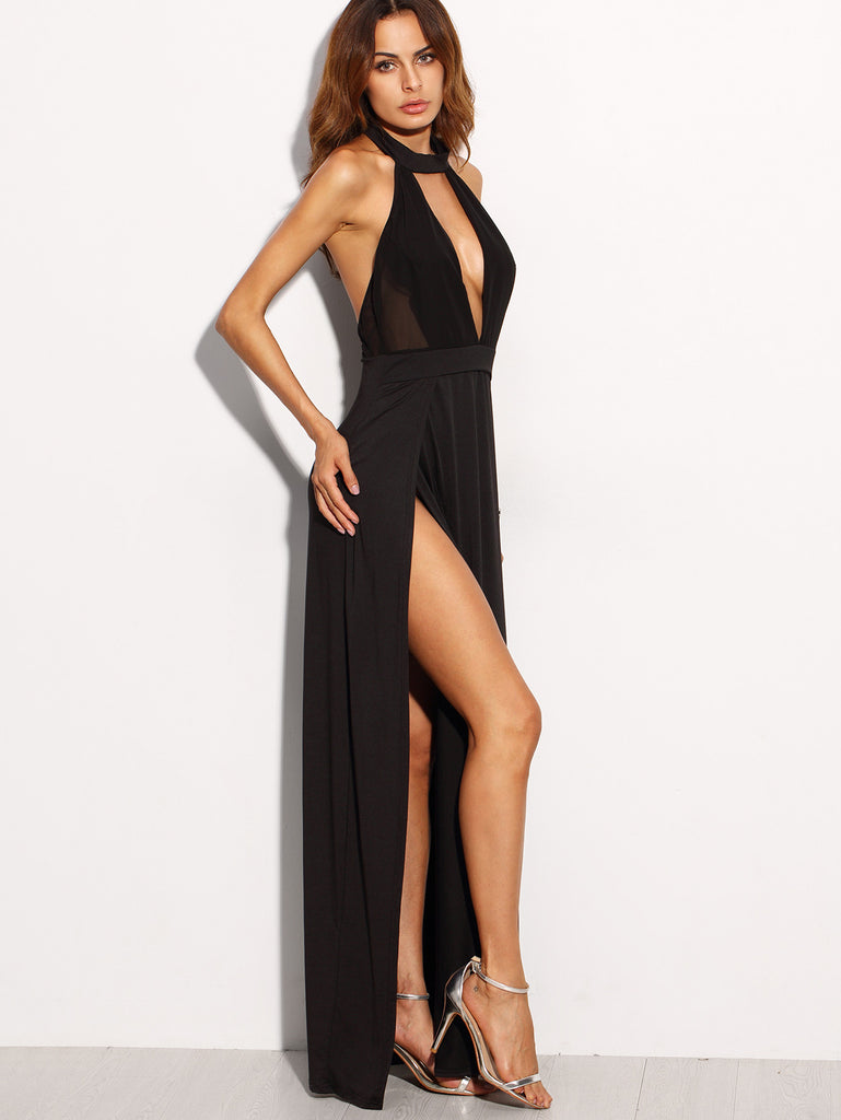 Black Halter Backless Cut Out Slit Dress - The Style Syndrome  - 2