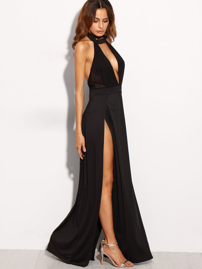 Black Halter Backless Cut Out Slit Dress - The Style Syndrome  - 4