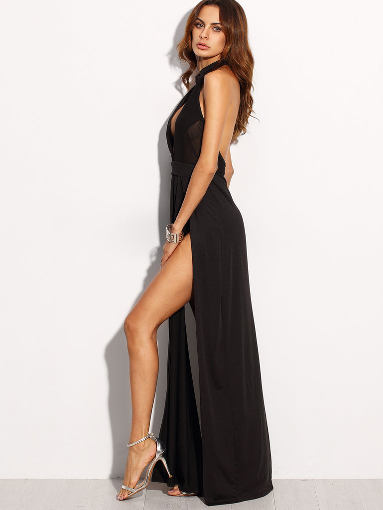 Black Halter Backless Cut Out Slit Dress - The Style Syndrome  - 5
