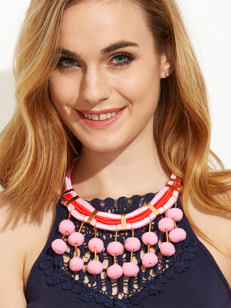 Pink Pom Pom Pendant Statement Necklace - The Style Syndrome  - 1