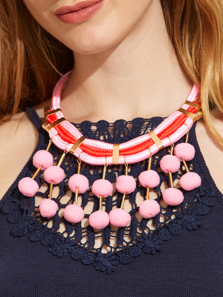 Pink Pom Pom Pendant Statement Necklace - The Style Syndrome  - 2