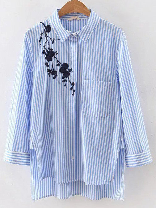 Blue Stripe Embroidery High Low Blouse - The Style Syndrome  - 1