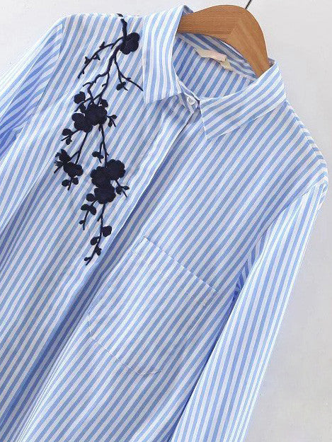 Blue Stripe Embroidery High Low Blouse - The Style Syndrome  - 2