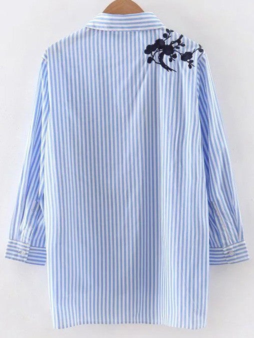 Blue Stripe Embroidery High Low Blouse - The Style Syndrome  - 5