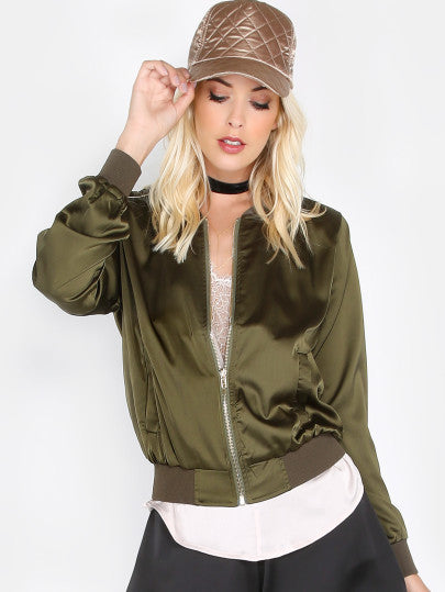 Ribbed Collar Silky Bomber Jacket OLIVE - The Style Syndrome  - 1
