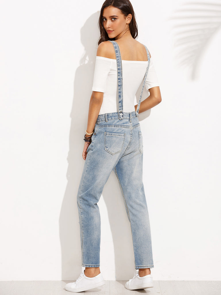 RZX Blue Button Fly Ripped Bleach Wash Jeans With Strap - The Style Syndrome  - 3