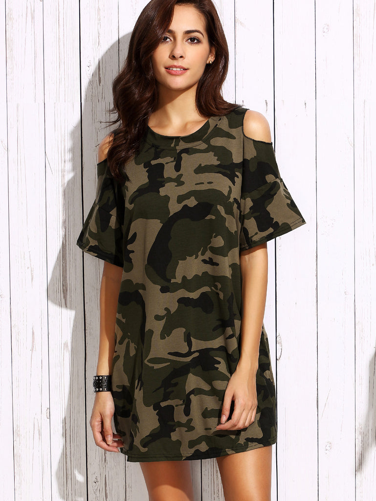 Olive Green Open Shoulder Camo Dress - The Style Syndrome  - 1