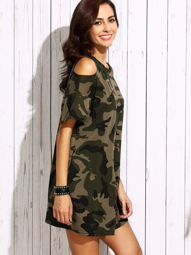 Olive Green Open Shoulder Camo Dress - The Style Syndrome  - 3