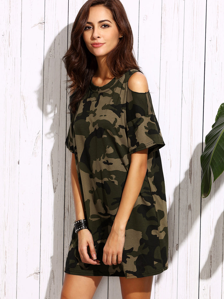Olive Green Open Shoulder Camo Dress - The Style Syndrome  - 2