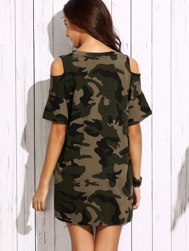 Olive Green Open Shoulder Camo Dress - The Style Syndrome  - 4
