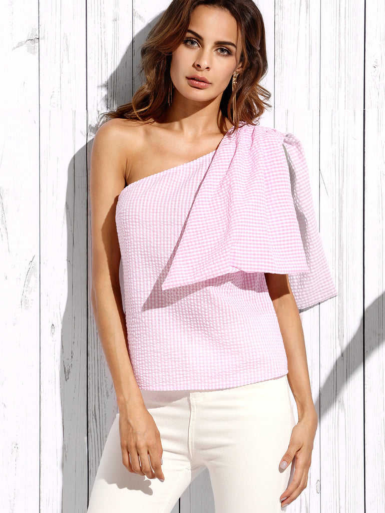 Pink Plaid Sleeveless Bow One Shoulder Blouse - The Style Syndrome  - 1