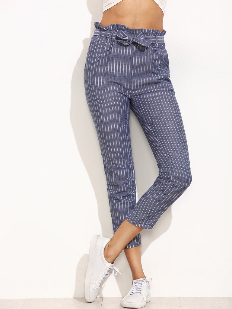 Blue Striped Ruffled Tie Waist Pants - The Style Syndrome  - 2