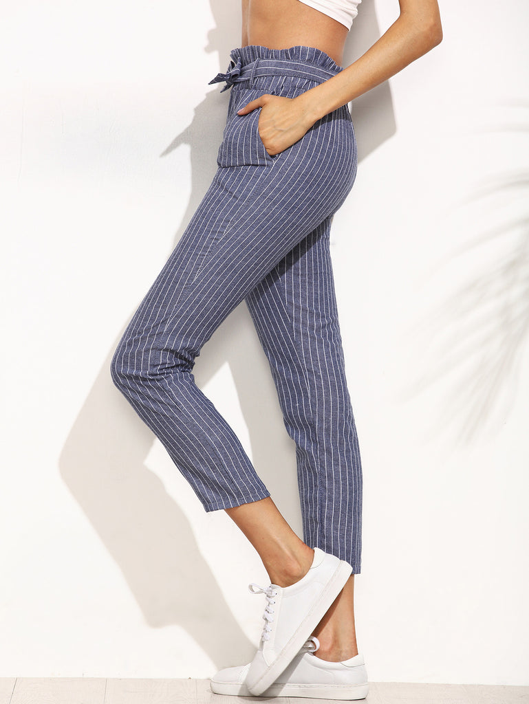 Blue Striped Ruffled Tie Waist Pants - The Style Syndrome  - 3