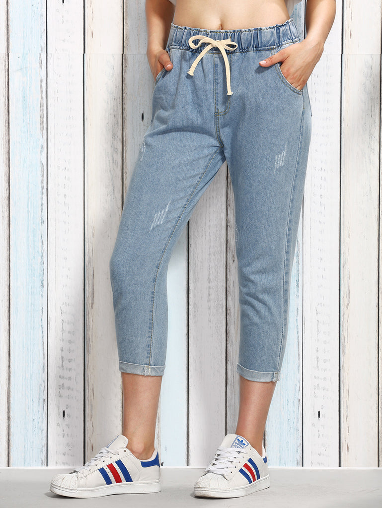 RZX Blue Drawstring Waist 3/4 Length Jeans - The Style Syndrome  - 1