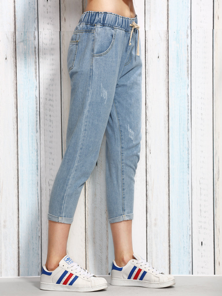 RZX Blue Drawstring Waist 3/4 Length Jeans - The Style Syndrome  - 2