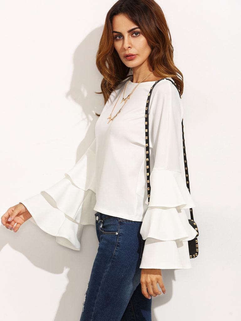 White Round Neck Ruffle Long Sleeve Blouse - The Style Syndrome  - 1