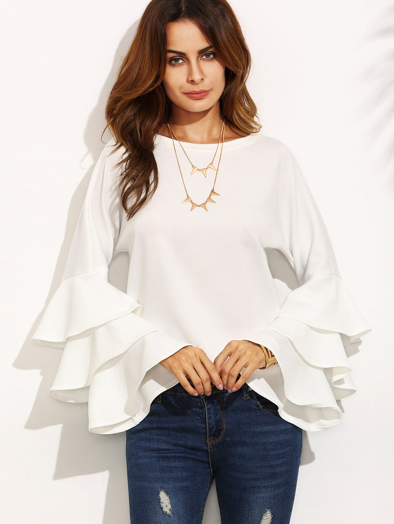 White Round Neck Ruffle Long Sleeve Blouse - The Style Syndrome  - 2