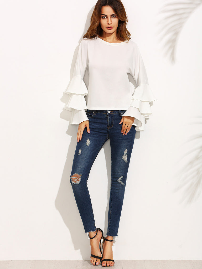 White Round Neck Ruffle Long Sleeve Blouse - The Style Syndrome  - 4