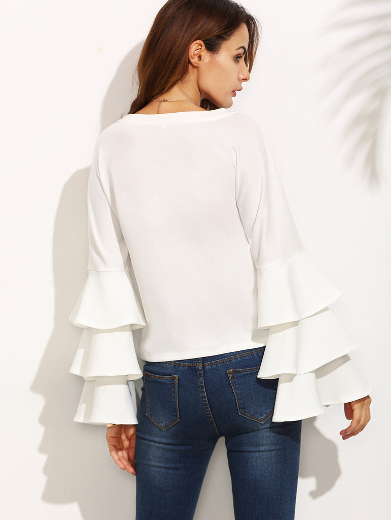 White Round Neck Ruffle Long Sleeve Blouse - The Style Syndrome  - 3