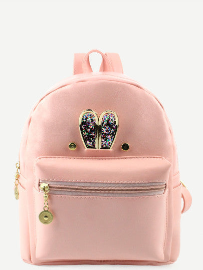 RZX Pink Metal Rabbit Ear Embellished Backpack