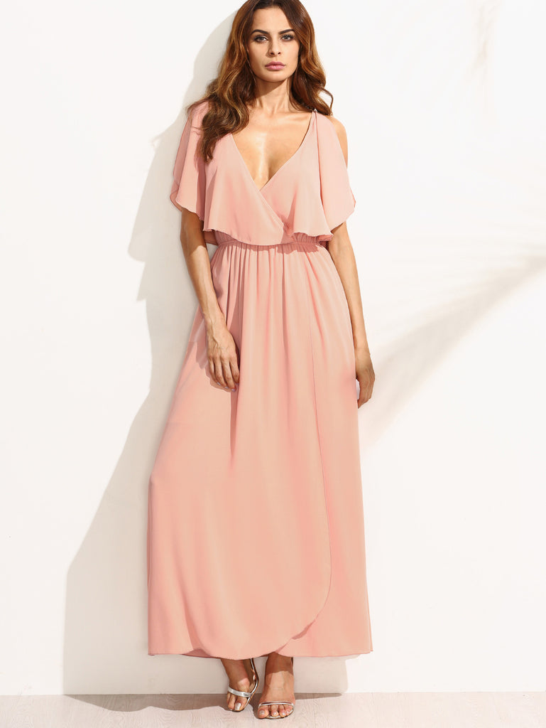 Pink Deep V Neck Ruffle Sleeveless Maxi Dress - The Style Syndrome  - 1