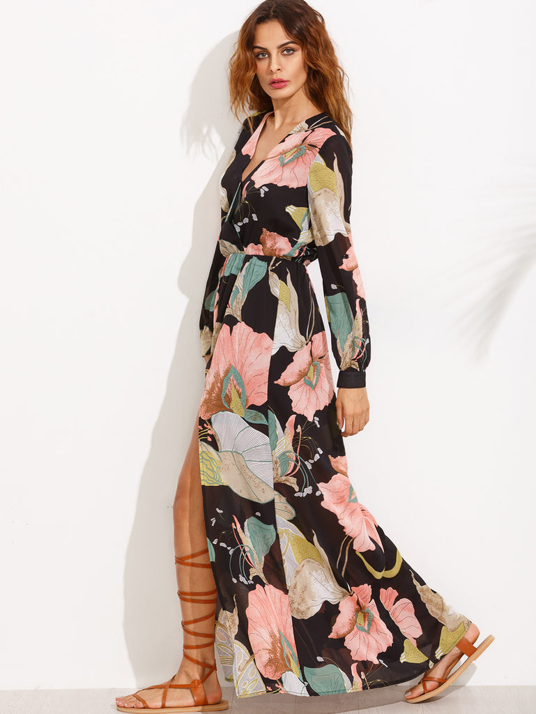 Floral Print V Neck Split Side Long Sleeve Dress - The Style Syndrome  - 2