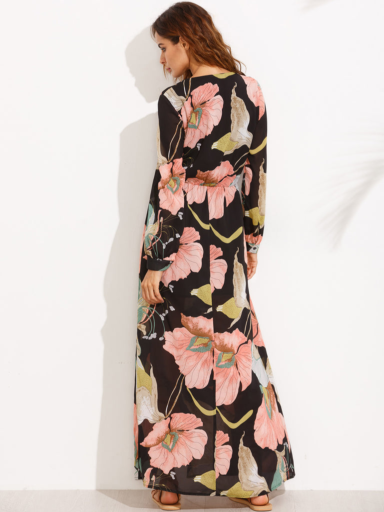 Floral Print V Neck Split Side Long Sleeve Dress - The Style Syndrome  - 3