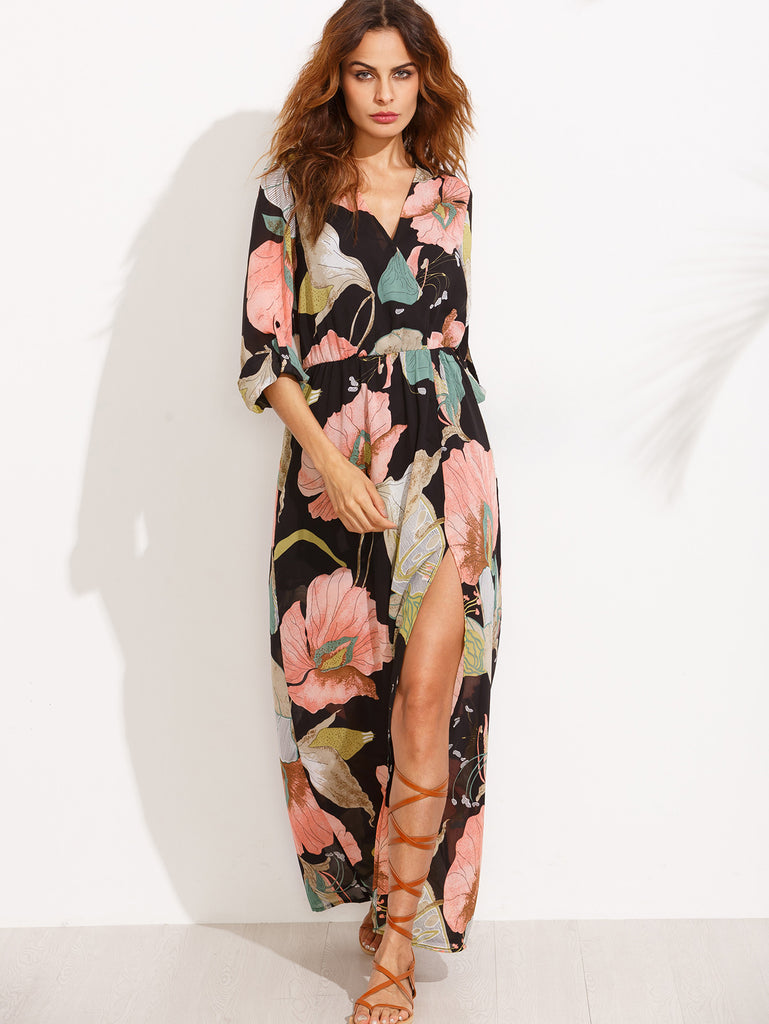 Floral Print V Neck Split Side Long Sleeve Dress - The Style Syndrome  - 4