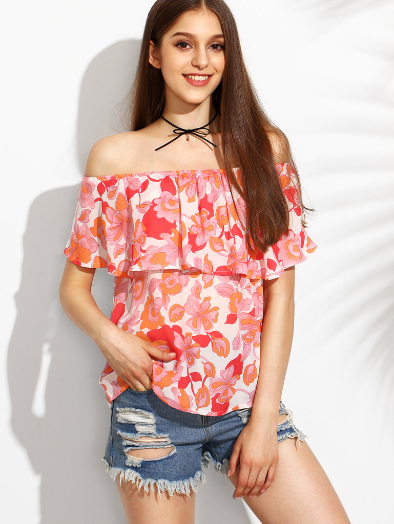 Floral Print Off The Shoulder Ruffle Blouse RZX - The Style Syndrome  - 1