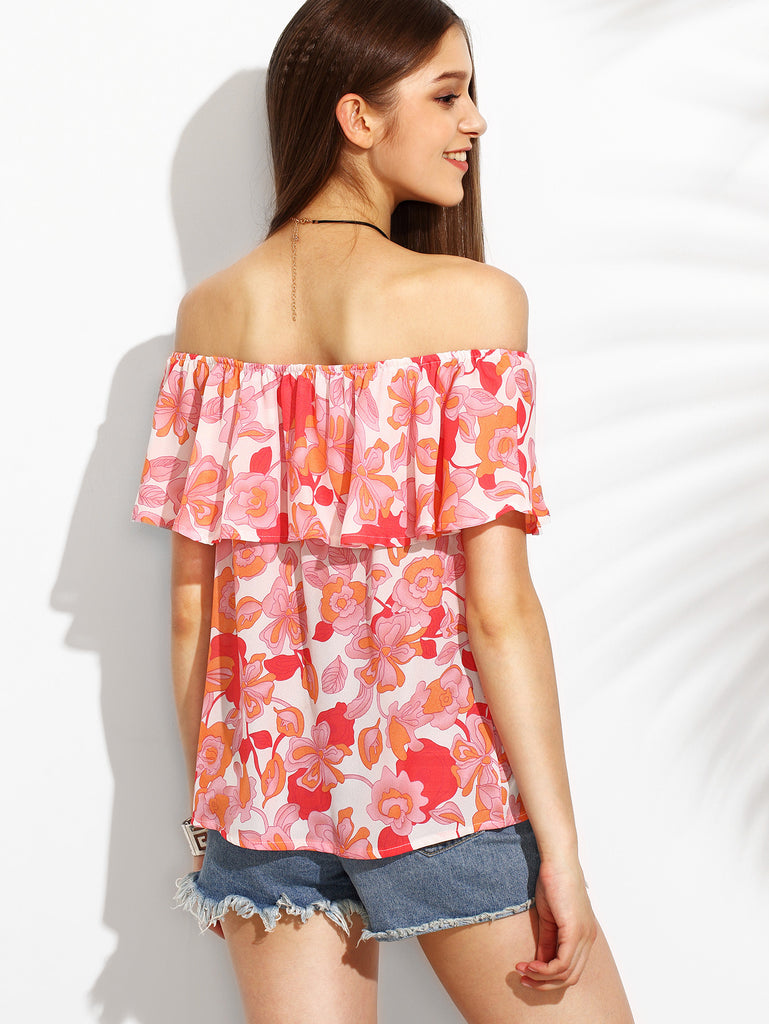 Floral Print Off The Shoulder Ruffle Blouse RZX - The Style Syndrome  - 4