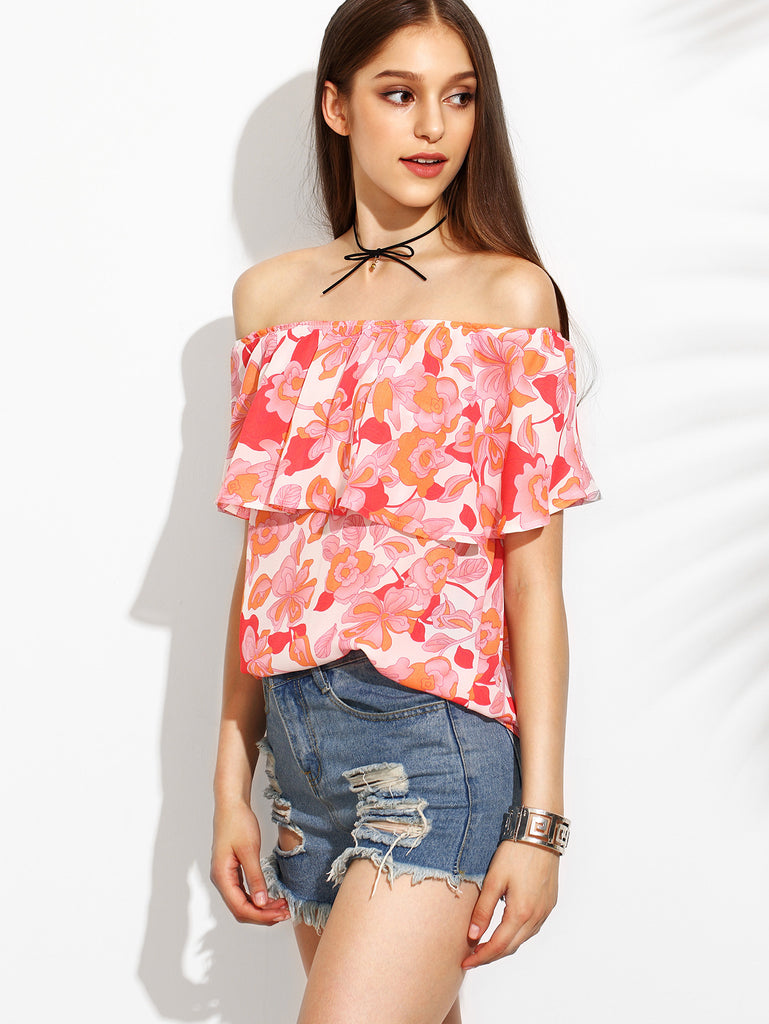 Floral Print Off The Shoulder Ruffle Blouse RZX - The Style Syndrome  - 3