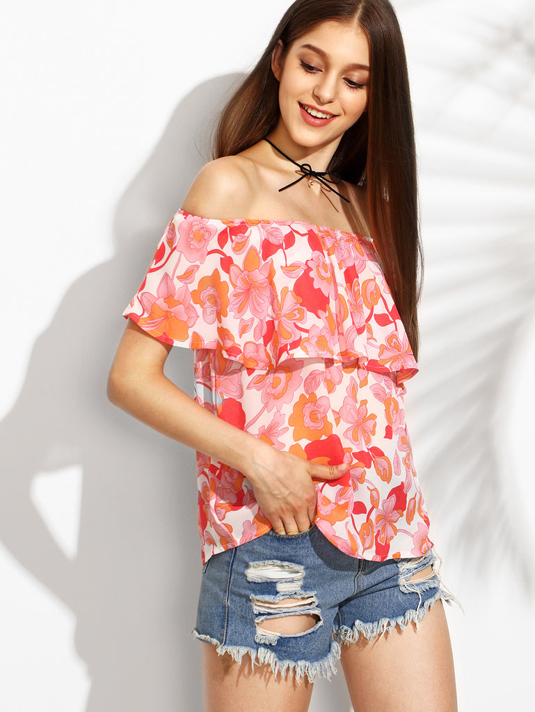 Floral Print Off The Shoulder Ruffle Blouse RZX - The Style Syndrome  - 2