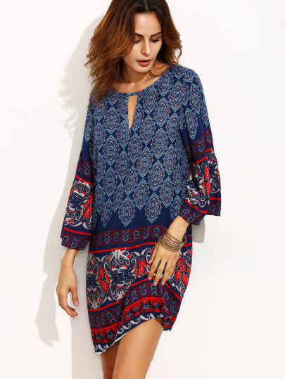 Tribal Print Cut Out Three Quarter Sleeve Shift Dress - The Style Syndrome  - 4