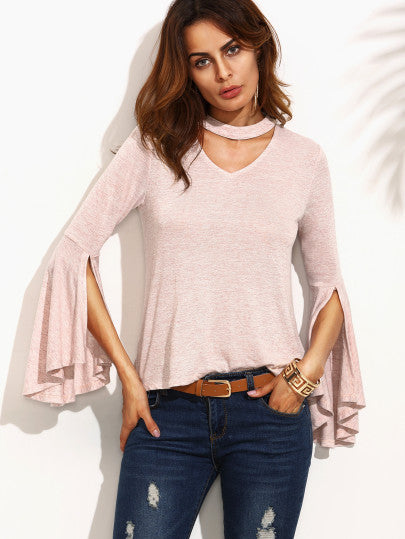 Pink Cut Out Ruffle Long Sleeve T-shirt - The Style Syndrome  - 1